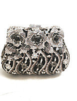 Women Floral Design Rhinestone Clutches Evening Black White