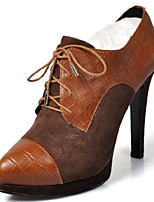 Women's Heels Comfort PU Leather Spring Casual Red Brown 3in-3 3/4in