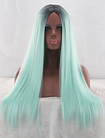 Green Gradient Long Straight Hair in the Fashion Wigs Cosplay Role Play 26inch