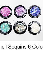 Sequins Nail Salon Tool Hand Rests Nail Art decorative stickers sequins Shell Sequins 6 Colors /Kit