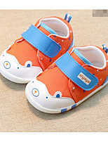 Girls' Flats First Walkers Cotton Fabric Spring Fall Casual Walking First Walkers Magic Tape Low Heel Navy Blue Orange Flat