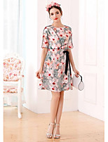 UNE FLEURWomen's Casual/Daily A Line DressFloral Print Round Neck Knee-length Above Knee Short Sleeve Polyester Summer High Rise Micro-elastic
