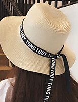 Women Beach Summer Sun Letter Ribbon Printing Bow Hat Straw Holiday Seaside Vacation Cap