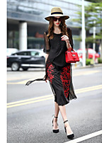 Women's Party Casual/Daily Going out Cute A Line Dress,Embroidered Round Neck Midi Silk Spring Summer Mid Rise Inelastic Medium