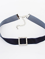 Choker Necklaces Women's Euramerican Square Rhinestone Fashion and Personality Party Daily Movie Jewelry
