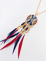 Euramerican Fashion Personalized Chrome Feather Tassel Necklaces Lady Casual Movie Jewelry