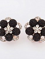 Stud Earrings Lady Girls  Euramerican Delicate Elegant Flower Rhinestone Black Daily And Party Clip Earrings Movie Jewelry
