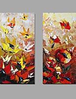 Ручная роспись Абстракция Вертикальная,Абстракция 2 панели Холст Hang-роспись маслом For Украшение дома