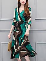 Для женщин Для вечеринок На выход Большие размеры Богемный Свободный силуэт С летящей юбкой Платье С принтом,V-образный вырезСредней