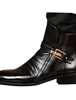 Men's Boots Comfort Novelty Leather Fall Winter Casual Walking Comfort Novelty Zipper Flat Heel Black Flat