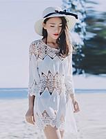 Damen Lose Kleid-Ausgehen Lässig/Alltäglich Sexy Retro Einfach Solide Rundhalsausschnitt Mini 3/4 Ärmel Baumwolle Kunstseide SpitzeAlle