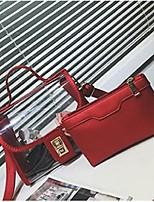 Women Bag Sets PU All Seasons Square Clasp Lock Ruby Silver Black Green