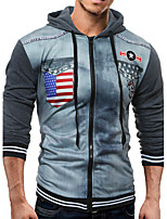 Men's Casual/Daily Hoodie Leopard Hooded strenchy Cotton Long Sleeve Spring, Fall, Winter, Summer