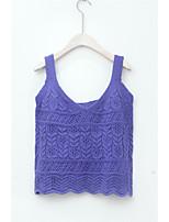 Women's Casual Regular Vest,Striped Deep U Sleeveless Other Spring Fall Medium Micro-elastic