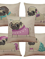 Set of 5 Fashion Dog Pattern  Linen Pillowcase Sofa Home Decor Cushion Cover (18*18inch)