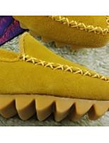Для женщин Мокасины и Свитер Полиуретан Весна Черный Желтый Пурпурный Миндальный Тёмно-синий На плоской подошве