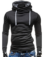 Men's Going out Casual/Daily Simple Hoodie Solid Hooded Micro-elastic Cotton Polyester Long Sleeve Winter