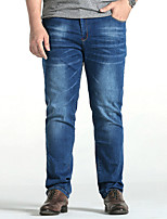 Men's Mid Rise Micro-elastic Straight Jeans PantsSimple Loose Straight Solid YF-3818