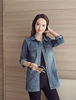 Women's Going out Casual/Daily Simple Street chic Spring Denim Jacket,Solid Stand Long Sleeve Long Others
