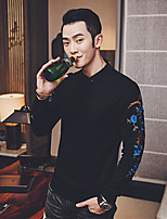 Men's Daily Sweatshirt Floral Shirt Collar Micro-elastic Cotton Long Sleeve Spring