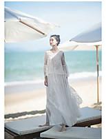 Damen Solide Einfach Chinoiserie Urlaub Hemd,V-Ausschnitt Langarm Polyester