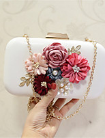 Women Evening Bag PU All Seasons Event/Party Party & Evening Date Club Baguette Flower Clasp Lock khaki Pale Pink Black White