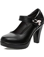 Для женщин Обувь на каблуках Туфли лодочки Дерматин Весна Осень Туфли лодочки На толстом каблуке Черный Красный 7 - 9,5 см