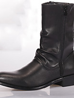 Men's Boots Comfort Novelty Leather Fall Winter Casual Walking Comfort Novelty Chain Flat Heel Black Flat