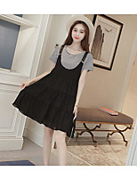 Women's Going out Casual/Daily Vintage Street chic Spring Summer T-shirt Dress Suits,Solid Striped U Neck Short Sleeve Classic