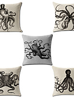 Set Of 5 Vintage Octopus Seabed Creatures Pillow Cover Square Cotton/Linen Pillow Case