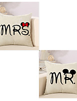 Set Of 2 Mr And Mrs Word Printing Pillow Cover Cotton/Linen Pillow Case Sofa Cushion Cover