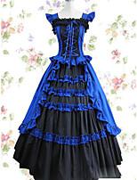 Un Pezzo/Vestiti Gotico Lolita Cosplay Vestiti Lolita Vintage Ad aletta Senza maniche Raso terra Abito Per Altro