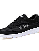 Men's Sneakers Comfort Tulle Spring Summer Outdoor Casual Lace-up Flat Heel Blue Gray Black Flat