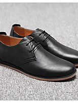Men's Wedding Shoes Comfort Cowhide Nappa Leather Spring Casual Black Flat