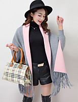 Women's Going out Regular Cloak / Capes,Color Block Asymmetrical Long Sleeve Wool Spring Winter Medium Inelastic