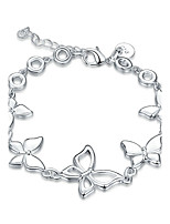 Exquisite Silver Plated Clear Crystal Sweet Butterfly Chain & Link Bracelets Jewellery for Women Accessiories