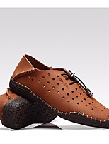 Men's Sneakers Comfort Cowhide Summer Casual Comfort Dark Blue Light Yellow Light Brown Flat
