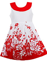 Girls Fashion Dress Red Floral Cotton Dresses Party Birthday Summer Kids Clothing