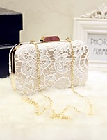 Women Evening Bag Silk All Seasons Event/Party Party & Evening Date Baguette Lace Magnetic White