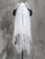 Hochzeitsschleier Zweischichtig Ellbogenlange Schleier Schnittkante Tülle