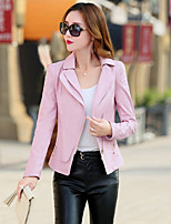 Women's Going out Beach Holiday Sexy Cute Spring Leather Jacket,Solid Shirt Collar Long Sleeve Regular Others
