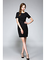 NEDO Women's Going out Casual/Daily Work Simple Street chic Sophisticated Sheath DressStriped Round Neck Above Knee Short Sleeve Polyester