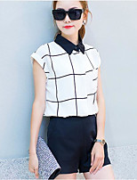 Women's Casual/Daily Simple Summer Shirt Skirt Suits,Plaid Stand Short Sleeve Micro-elastic
