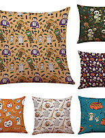Set of 6 Halloween Pumpkin Pattern Linen Pillowcase Sofa Home Decor Cushion Cover  Throw Pillow Case (18*18inch)