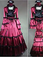 One-Piece/Dress Gothic Lolita Lolita Cosplay Lolita Dress Vintage Cap Long Sleeve Floor-length Dress For Other