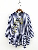 Tee-shirt Femme,Broderie Tartan Sortie Décontracté / Quotidien Sexy simple Chic de Rue Eté Manches ¾ Col Arrondi Coton Fin Moyen