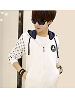 Men's Casual/Daily Simple Hoodie Solid Polka Dot Hooded Micro-elastic Polyester Long Sleeve Fall