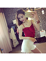 Women's Casual/Daily Sexy All Seasons Tank Top Dress Suits,Solid Off Shoulder Sleeveless Cotton