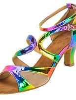 Damen Latin Kunstleder Sandalen Aufführung Verschlussschnalle Kubanischer Absatz Regenbogen 5 - 6,8 cm Maßfertigung