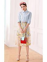 Mujer Adorable Sofisticado Casual/Diario Verano Camisas Falda Trajes,Cuello Camisero Un Color Floral